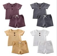 تصاميم الطفل مجموعات ملابس الرضع س القمصان الصلبة السراويل 2 قطع مجموعات الأزياء عارضة سترة السراويل الطويلة الطفل مصمم الاطفال itfits LSK1794