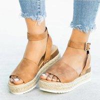 UUZZDS Клинья Обувь для женщин Сандалии Плюс Размер Высокие каблуки Летняя обувь