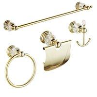 Auswind 4 peças de ouro polido banheiro acessórios conjuntos de toalha brasscrystal barra de parede montada de papel suporte de hardware de casa de banho