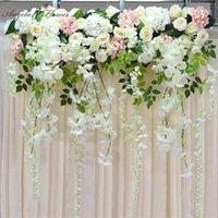 Искусственный цветочный ряд орхидеи цветок виноградной лозы DIY свадебный арки декор платформы фона стены окна дороги свинец флористический1