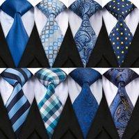 DiBanGu 20 개 스타일 블루 남자의 넥타이 세트와 손수건 커프스 100 % 남성 웨딩 파티 비즈니스 타이 포켓 스퀘어를 들어 실크 목에 넥타이를
