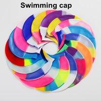 Arco iris gorro de baño de natación flexibles sombreros de la protección auditiva de natación Sombreros Silicona Piscina Cubierta de la cabeza gorros de baño Ducha CFYZ299Y