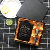 جديد مصغرة 8 أوقية الكل الأسود الطلاء الويسكي flagon الليزر 304 المقاوم للصدأ القمع الكحول جاك الفخذ قارورة سوداء هدية مربع مجموعة lppunk T200216