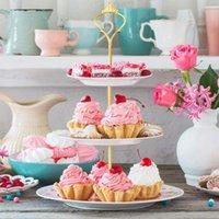 8 sets 3 Tier Crown Pastel Placa Soporte Accesorios Hardware Holder Gadgets de cocina para bodas y fiesta - SilverGolden