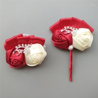 Свадебная церемония выпускного вечера Цветочная брошь Groom Boutonnieres и шелковые искусственные цветы запястья невесты свадебные аксессуары 1317-T1