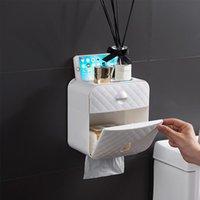Titular do rolo do toalete Toalha impermeável Toalha de papel montada WC Rolo de papel de rolo de papel caixa de armazenamento caixa de banho acessórios de banheiro YYB4860