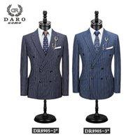 Darouomo 2021 Erkekler Suit Yeni Stil Rahat Iş Şerit Ceket Pantolon 2 Parça Slim Fit Mavi Çizgili Blazer Kaliteli DR8905