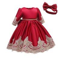 فساتين الفتاة 2021 الشتاء طفلة اللباس أنيقة التعميد للملابس زهرة الأميرة الأولى أعياد ميلاد حزب 1 2 3 سنة