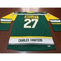 Мужчины Charles Charters # 27 Bouret Logan Bouret Humboldt Broncos Real Green Вышивка Хоккей Джерси или пользовательское имя или номер ретро Джерси