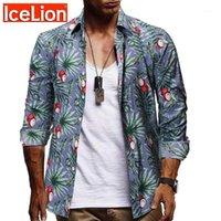 Homens casuais camisas icelion outono homens vire-down slim cabe manga longa impressão colarinho moda masculina camisas para hombre1