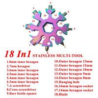 18 1 Snowflake Anahtarlık Anahtarı Çok İşlevli EDC Aracı Taşınabilir Paslanmaz Çelik Anahtarlık Tornavida Şişe Açacakları CCA12592 içinde