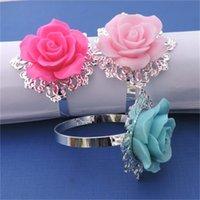 Harz Rose Serviette Ring Blume Servietten Halter Western Restaurant Hochzeit Abendessen Tischdekoration Home Hotelzubehör 1 7zr H1