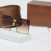 2021 New Luxur Top Qualität Klassische Quadrat Sonnenbrille Designer Marke Fashion Womens Sonnenbrille Brillen Metall Glaslinsen mit Kiste 2069