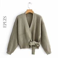 Womens Green Hecha Cardigan Suéter Mujeres Mangas largas Sashes Chic Sweater Streetwear Womens Knit Suéter 201030