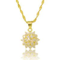 Cadenas de color dorado de color joyería de las mujeres, 24K Gold GP Clear CZ colgantes collar con cadena de onda de agua, joyería de boda