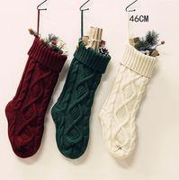 Noël Chaussettes de grande taille 46CM laine tricotée Accueil Décoration Candy Bag Chaussettes de diamant Sac à main cadeau chaussettes ornement de Noël Stocking CZ111301