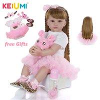 Keiumi Realistic Neonato Bambina da 24 pollici Morbido del tessuto del vinile Bonecas Bonecas Infantil Menina Baby Doll Giocattoli per bambini Regali di compleanno LJ201031