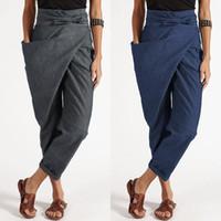femininas extragrandes Harem Pants 2020 ZANZEA Elegante Casual Pantalon longo Palazzo Moda grandes bolsos laterais Zipper Calça Corsário