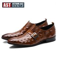 Sapatos de vestido CroCoDile padrão fivela cinta de couro homens jacaré jacaré Oxfords Hight End Business Man Luxo formal1
