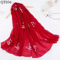 Bufandas étnica viento bufanda femenino borla bordeo flor grande chal primavera y verano viaje bufanda