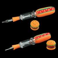 """Caixa de embalagem 7.9 """"Kit de cera de fumo de cachorro-quente Vapor NC Titanium Prego Quartzo Dica Fumar Concentrado Requer calor de fogo com contenção de hambúrguer"""