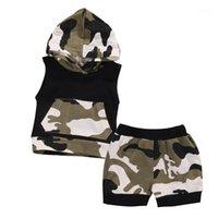 Pudcoco Hot recém-nascido bebê menino roupas verão camuflagem sem mangas t-shirt de capuz + calça calça casual 2pcs roupas set1