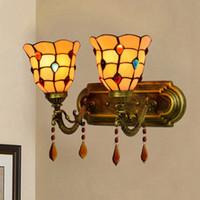두 머리 욕실 거울 빛 스테인드 글라스 벽 램프 유럽 홈 인테리어 침대 옆 통로 벽 Sconces LED 전등 설비
