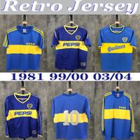 1981 Boca Juniors rétro Jerseys Classic Vintage Maradona Longues Manches Soccer Jersey 1999/00 2003/04 Chemise de football à manches courtes Maillot