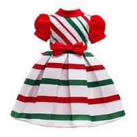 Navidad princesa vestidos para niñas - precioso de Navidad Manga corta Bow Tie vestido de noche del partido 3T 4T 5T 5T 7T 9T 8T 10T del vestido del traje hasta