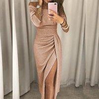 Vestidos Elegantes Fiesta Elbise Seksi Uzun Elbiseler Kadınlar Zarif Elbiseler Artı Boyutu Elbiseler Kadınlar Casual Elbise Pullu Slim Elbise Y0118