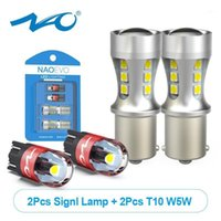 NAO P21W 1156 T10 LED 조명 W5W BA15S 5W 1300LM 자동 주간 실행 램프 12V 3030 칩 194 168 인테리어지도 전구