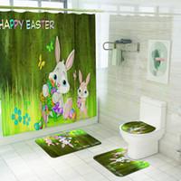 Ostern Duschvorhang mit Teppichen Polyestergewebe wasserdichtes Kaninchen und Ostereier Duschvorhänge Sets Haken enthalten
