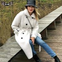 BFFUR Uzun Yün Ceket Kemer Ile Gerçek Kürk Ceket Dinsiz Yaka Kadın Mont Doğal Koyun Kadın Kış Kıyafet Y201001