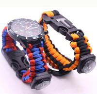 Самосрежетений Paracord Bracelets Парашютный шнур Bracele Bracte Britband Открытый кемпинг Путешествия Комплект Мужчины Женщины Кемпинг Запястье Браслет Часы