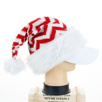 Cheapest Christmas Plush Hat Knitted Long Staple Striped Adult Red Santa Claus Christmas Wool Party Hats Xmas Decorations Gifts