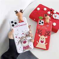 Caixa do telefone da boneca de Natal bonito de Santa 3D para iphone 11 Pro Max XR 8 Plus 2020 Cartoons presente Xmas Rena macia capa