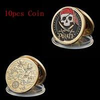 10pcs Skull Pirate Ship Gold Treasure Monet Coin Artigianato Leone del mare che esegue il distintivo da collezione da collezione selvaggio