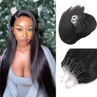 Slik Straight Micro Ringschleife Haarverlängerungen Körperwelle Natürliche Schwarze Micro Perlen Links Menschliche Haarverlängerungen 100g 1g / Strang