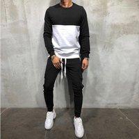 لون مجموعة الأزياء عارضة الملابس الذكور الربيع الخريف رجل مصمم رياضية طويلة الأكمام طاقم الرقبة مخطط النقيض