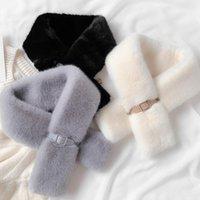스카프 패션 부드러운 따뜻한 모직 스카프 두꺼운 여성 넥 칩 버튼 소녀 귀여운 흰색 숙녀 모피 칼라 크로스 스카프 1