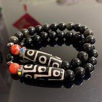 Charme pulseiras natural tibetano dzi ágata cura chakra buddha oração nove Eyed ouro obsidian frisado agat masculino1
