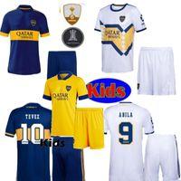 20 21 Boca Juniors Abila de Rossi Home Blue White Yellow Kit Kit de niños Jersey Tevez Juventud Niños Camisas de fútbol Camisa de Futebol 2021