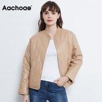 Aachoae Fashion Argyle Padded Jacket Women PU Faux Leather Long Sleeve Coat Female Loose Casual Ladies Winter Jackets 2020 Y1112