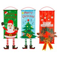 The Christmas Banner Elf Snowman Cloth Hanging Scroll Cartoo...