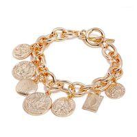 2020 Летняя Богемия Золотая Греческая монета Кулон Charm Link Цепочка Браслет Бич Металлический Сандарные Анклаты Нога Ювелирные Изделия для Женщин1