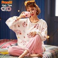 Melifle Kış Sıcak Pembe Kawaii Kadife Pijama Kadınlar Için Set Yumuşak Flanel Kadın Gecelikler ATOFF Ev Peluş Beyaz Pijama Suits 201031
