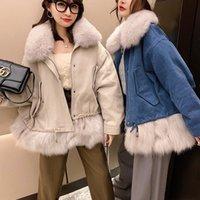 OFTBUY 2020 Streetwear Зимней куртки женщин реального Шуба из натурального Воротник Liner Parka Верхней одежды Толстого Теплого qQGk #