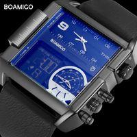 Boamigo Brand Men Sports Часы 3 часовой пояс Большой мужчина Мода Военные светодиодные часы Кожаные кварцевые наручные часы Relogio Masculino LJ201126