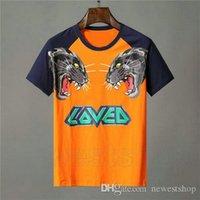 مصمم ملابس رجالي برتقالي t-shirt إلكتروني الحيوان النمر الذئب طباعة الزى أحب المرقعة اللون تي عارضة المرأة بلايز تي شيرت الأعلى