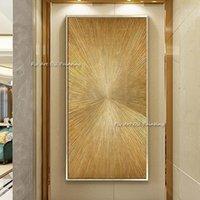 Gran línea de oro abstracto pintura al óleo geométrica en lienzo pintado a mano de la pared de lienzo Imágenes de la pared para la sala de estar Inicio Regalos1